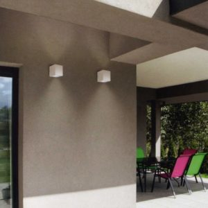 lampada parete esterna bianco grigio Gea Luce, negozio lampadari Progetto Luce