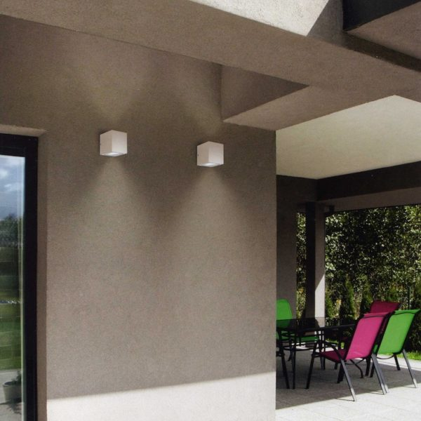 Gea Luce outdoor white grey wall lamp, lamps shop Progetto Luce