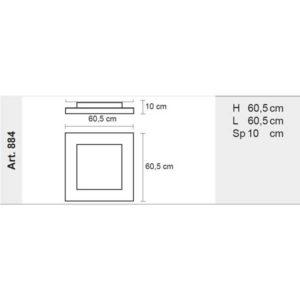 misure lampada da soffitto quadra, negozio lampadari Progetto Luce