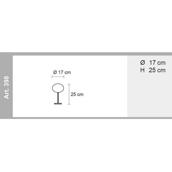 misure lampada da tavolo globo, negozio lampadari Progetto Luce