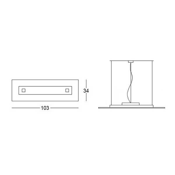misure lampada sospensione square 1062, negozio lampadari Progetto Luce